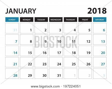 Printable calendar for January 2018 Planner design template Week starts on Sunday Stationery design