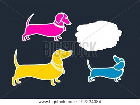 Color template of silhouettes of dachshunds. Communication chatting search. Place for text. Vector illustration background.