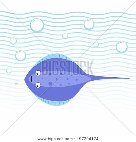 Trendy cartoon style cheerful stingray swimming underwater. Waves and bubbles. Educational simple gradient vector icon.