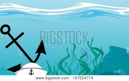 Illustration. Cartoon. An anchor and a sailor hat sunken at the bottom of the ocean