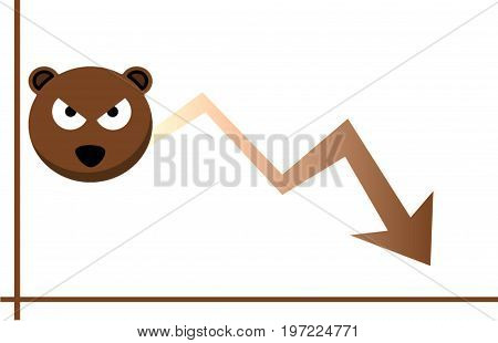Forex market. Concept of Forex. Trading. Illustration. Brown overall. Graph. Chart. Bear. White background