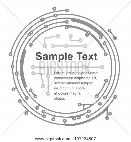 Round frame in PCB-layout style for text or design