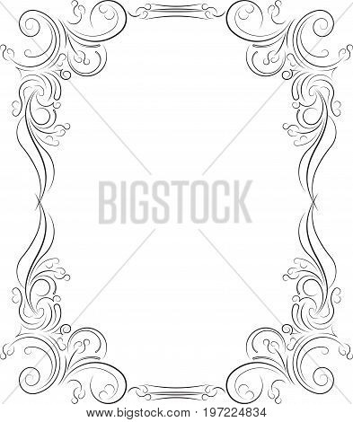 Vintage Black Frame With Empty Place For Your Text Or Other Design, Vector Illustration Greeting Car