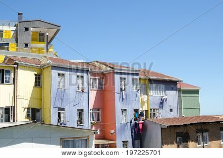 Colorful houses of Valparaiso - urban background