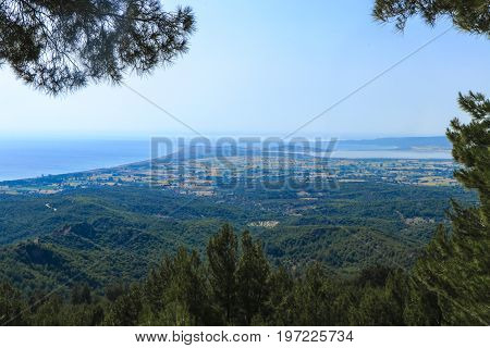 View of old battlegrounds of Anzac Cove (Ariburnu) From Chunuk Bair (Conk Bayiri), Canakkale, Turkey