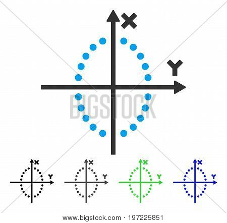 Ellipse Plot flat vector pictograph. Colored ellipse plot gray, black, blue, green icon versions. Flat icon style for graphic design.