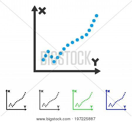 Function Plot flat vector pictograph. Colored function plot gray, black, blue, green icon variants. Flat icon style for web design.