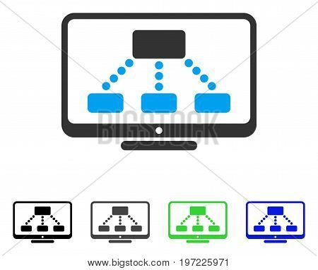 Hierarchy Monitor flat vector pictograph. Colored hierarchy monitor gray, black, blue, green icon versions. Flat icon style for graphic design.