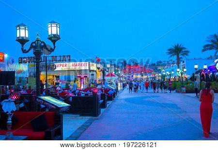 Sharm El Sheikh, Egypt - April 13, 2017: One of the shopping streets, Naama Bay at Sharm el Sheikh, Egypt on April 13, 2017