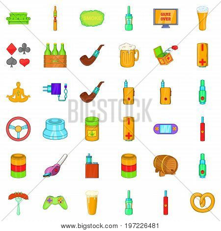 Habit icons set. Cartoon style of 36 habit vector icons for web isolated on white background