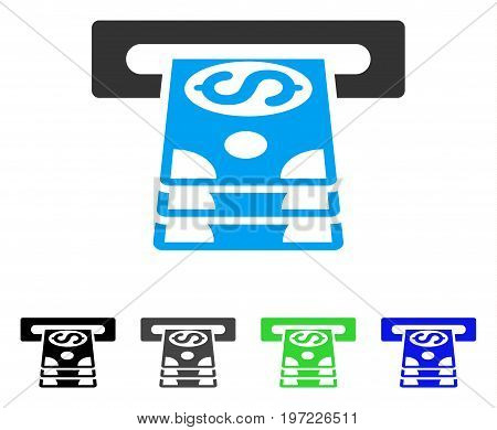 Bank Cashpoint flat vector illustration. Colored bank cashpoint gray, black, blue, green icon versions. Flat icon style for application design.