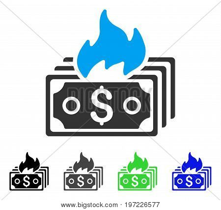 Burn Banknotes flat vector pictogram. Colored burn banknotes gray, black, blue, green pictogram variants. Flat icon style for web design.