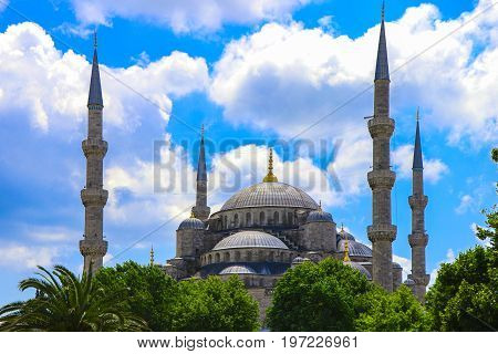 Blue mosque in the glorious daylight, Istanbul, Sultanahmet park. The biggest mosque in Istanbul of Sultan Ahmed (Ottoman Empire).