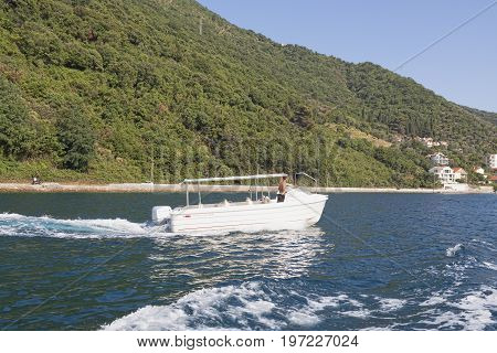 Unknown Man Travel By Boat Along The Boka-kotor Gulf