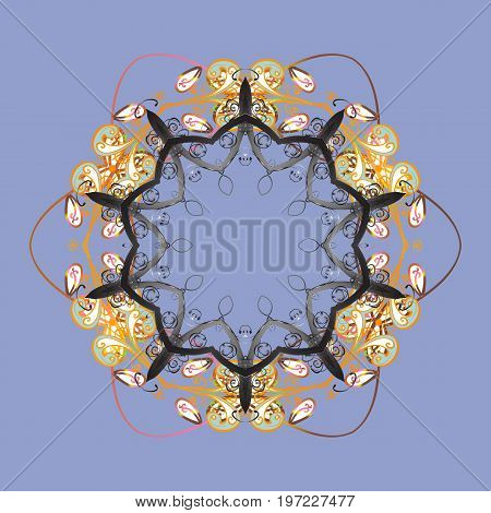 Vector illustration. Christmas snowflake of decoration on snow. Christmas festive background.