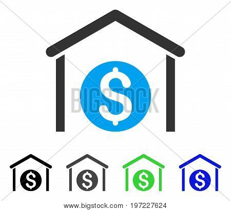 Money Storage flat vector pictograph. Colored money storage gray, black, blue, green icon variants. Flat icon style for application design.