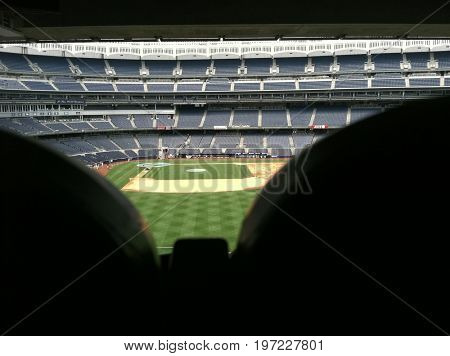 BRONX, NEW YORK CITY: AUG 6 2011: View of the filed and seats from inside Yankee Stadium