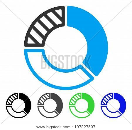 Pie Chart flat vector icon. Colored pie chart gray, black, blue, green pictogram versions. Flat icon style for application design.