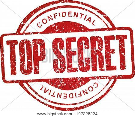 Top secret confidential. Grunge style red rubber stamp.