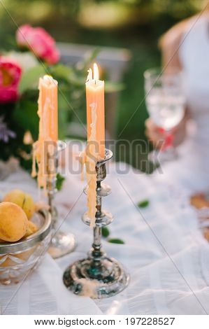 picnic, food, people and holiday concept - decorated picnic table with fruits, burning candles in candlesticks, platter of fresh apricots, pink peony flower, sitting woman with glass, selective focus