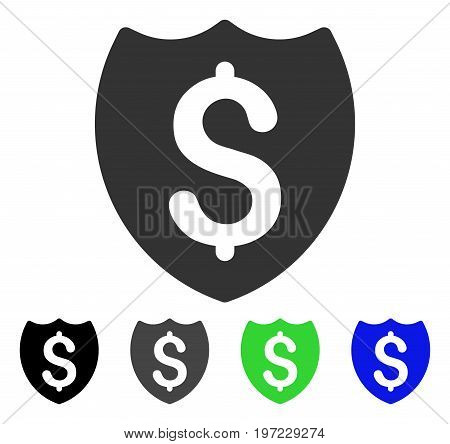 Bank Insurance Shield flat vector icon. Colored bank insurance shield gray, black, blue, green icon versions. Flat icon style for application design.