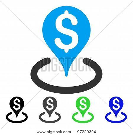 Bank Location flat vector icon. Colored bank location gray, black, blue, green icon versions. Flat icon style for graphic design.