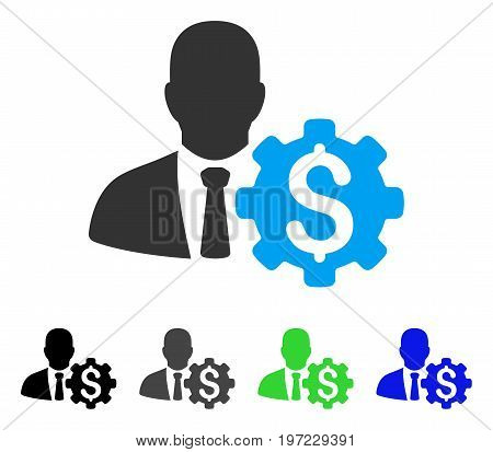 Banker Options Gear flat vector pictograph. Colored banker options gear gray, black, blue, green icon variants. Flat icon style for graphic design.