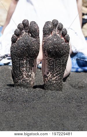 Sandy Feet At Black Beach, Lorneville, New Brunswick, In Atlantic Canada