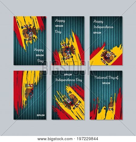 Spain Patriotic Cards For National Day. Expressive Brush Stroke In National Flag Colors On Dark Stri