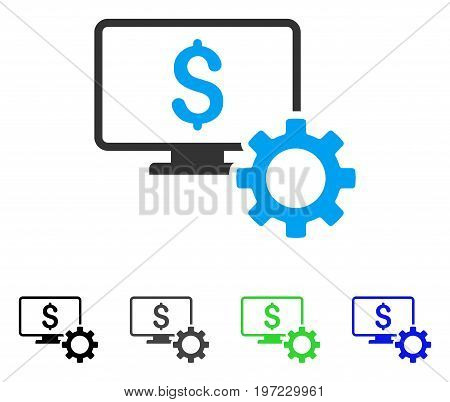 Financial Monitoring Options flat vector pictogram. Colored financial monitoring options gray, black, blue, green icon variants. Flat icon style for application design.