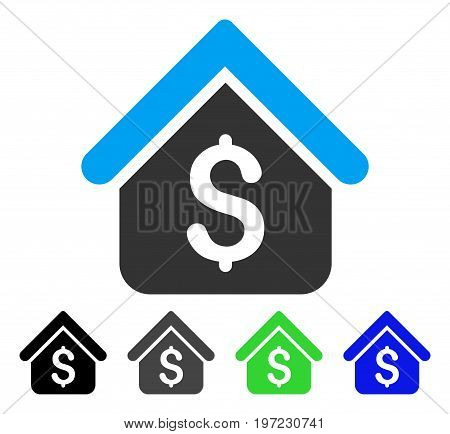 Loan Mortgage flat vector icon. Colored loan mortgage gray, black, blue, green icon variants. Flat icon style for application design.