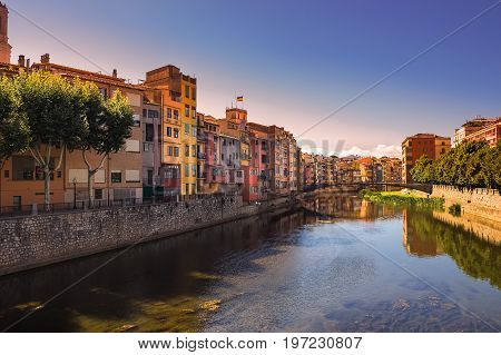 Girona. Multi-colored facades of houses on the river Onyar. Catalonia, Spain