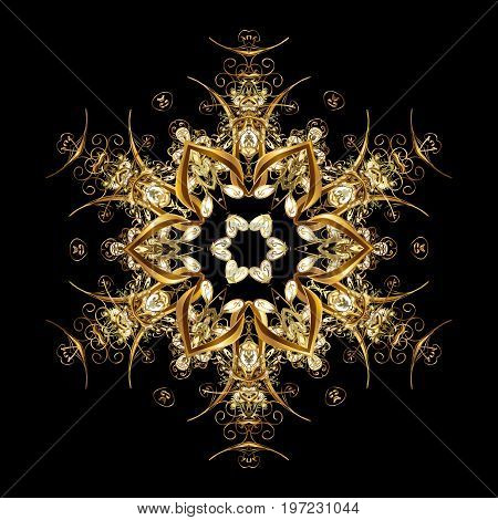 Golden snowflakes snowfall stylized snow on black background. Design. Stock vector illustration falling snow.