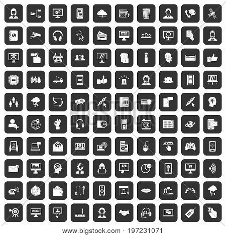 100 contact us icons set in black color isolated vector illustration