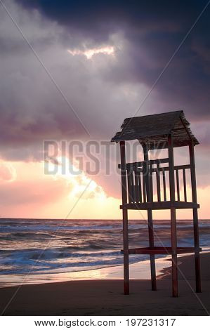 Landscape Of Beach With The Wooden Lookout Tower