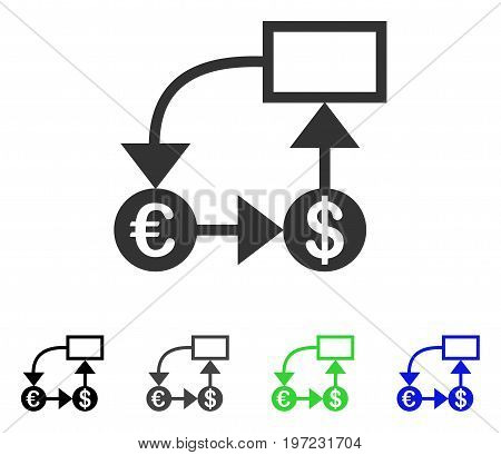 Euro And Dollar Flow Chart flat vector pictograph. Colored euro and dollar flow chart gray, black, blue, green icon variants. Flat icon style for web design.