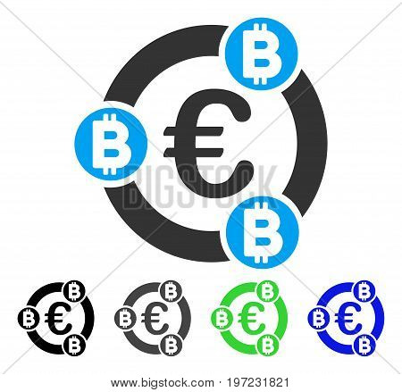 Euro Bitcoin Collaboration flat vector pictogram. Colored euro bitcoin collaboration gray, black, blue, green pictogram versions. Flat icon style for web design.