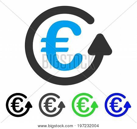 Euro Chargeback flat vector icon. Colored euro chargeback gray, black, blue, green icon versions. Flat icon style for web design.