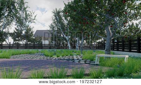 3d rendering of the backyard