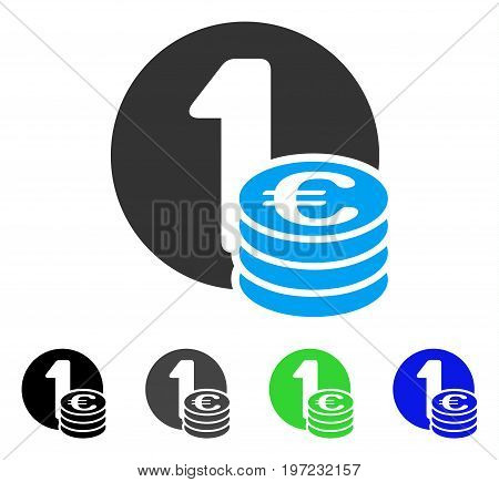 Euro Coin Column flat vector illustration. Colored euro coin column gray, black, blue, green pictogram versions. Flat icon style for graphic design.