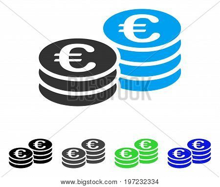 Euro Coin Stacks flat vector pictogram. Colored euro coin stacks gray, black, blue, green pictogram variants. Flat icon style for application design.