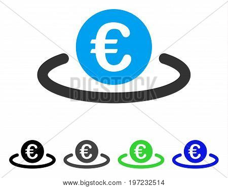 Euro Deposit flat vector pictogram. Colored euro deposit gray, black, blue, green icon versions. Flat icon style for application design.