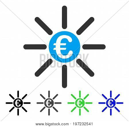 Euro Distribution flat vector illustration. Colored euro distribution gray, black, blue, green pictogram variants. Flat icon style for application design.
