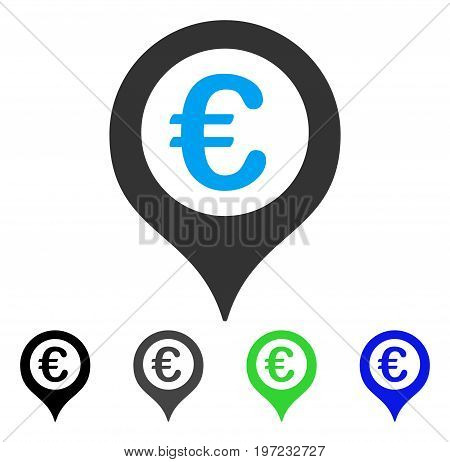 Euro Map Marker flat vector pictograph. Colored euro map marker gray, black, blue, green icon variants. Flat icon style for graphic design.