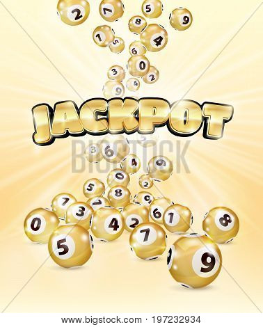 Illustration Gold Bingo balls fall randomly on pink background. Jackpot in gold letters. Lottery Number Balls. Golden balls. Bingo ball. Bingo golden balls with numbers. Realistic illustration.
