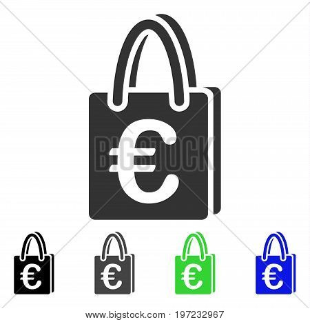 Euro Shopping Bag flat vector illustration. Colored euro shopping bag gray, black, blue, green pictogram versions. Flat icon style for application design.