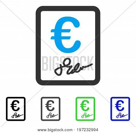 Euro Signed Contract flat vector illustration. Colored euro signed contract gray, black, blue, green icon variants. Flat icon style for web design.