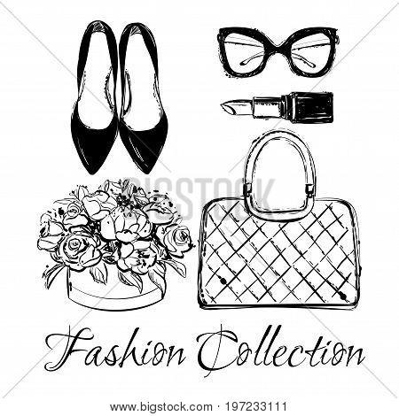 Vector Fashion Black And White Sketch Set. Hand Drawn Graphic Shoes, Bag, Lipstick, Flower Box, Eyeg