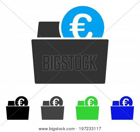 Euro Wallet flat vector icon. Colored euro wallet gray, black, blue, green pictogram versions. Flat icon style for application design.