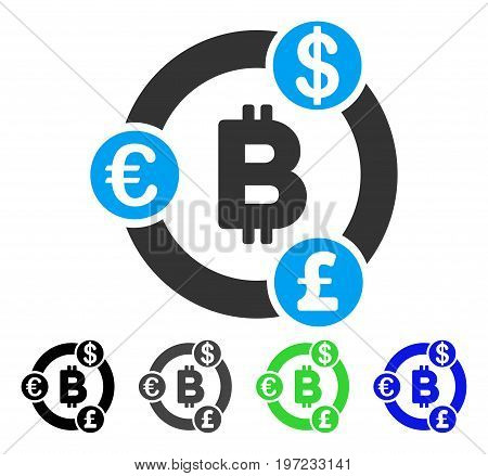 International Bitcoin Collaboration flat vector icon. Colored international bitcoin collaboration gray, black, blue, green pictogram versions. Flat icon style for application design.